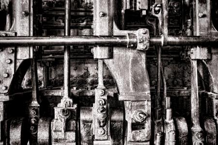 Old locomotive steam engine grunge detail with crankshaft power transmission manifold and rods Stock Photo - 17420169