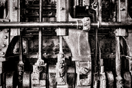 Old locomotive steam engine grunge detail with crankshaft power transmission manifold and rods Stock Photo - 17420169