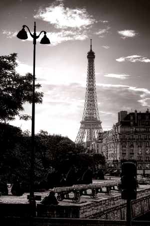 streetlight: The Eiffel Tower famous Paris landmark and scenic monument in France seen through buildings and trees from the Place des Invalides cannons esplanade at sunset