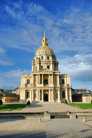invalides: Chapel of Saint Louis with dome at Hotel National des Invalides landmark monument and museum building in Paris France