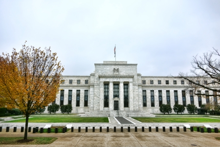 The United State Federal Reserve System Board Marriner S Eccles building made of Georgia Creole marble stones on Constitution Avenue in the US capital city of Washington DC