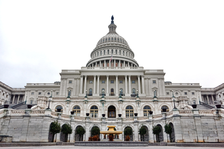 capital building: United States Capitol building facade with dome over the Central West Front entrance and terrace in the US American nation capital of Washington DC Stock Photo