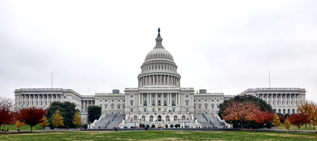 nation: United States Capitol building Western facade and dome over the West Front entrance and terrace with Senate and House wings from the front lawn in the US American nation capital of Washington DC Stock Photo