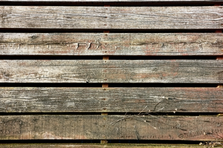 rural town: Old wood slat boards walking sidewalk pedestrian walk made of weathered wooden planks in an antique rural town viewed from above  Stock Photo