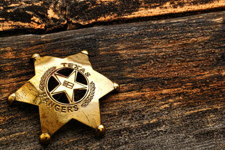 American West Legend Texas Ranger lawman antique justice symbol brass badge photo