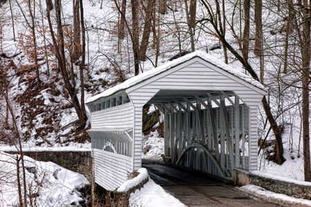 forge: Knox Covered Bridge over Yellow Spring Road in King of Prussia near Valley Forge National Historical Park military camp of the Continental Army near Philadelphia in Pennsylvania Stock Photo