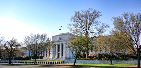 The United States Federal Reserve System Board of Governors Marriner S Eccles headquarters building on Constitution Avenue in the US capital city of Washington DC Imagens