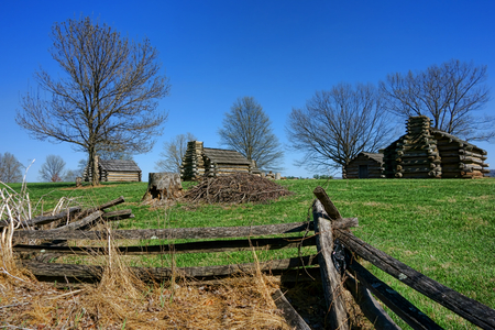 historic site: American Revolutionary War private soldier housing log wood cabins