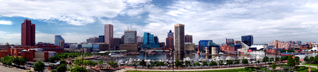 panoramic business: Baltimore Maryland Inner Harbor and downtown business district skyline wide cityscape panoramic view with National Aquarium and marina with boats from Federal Hill Park overlook