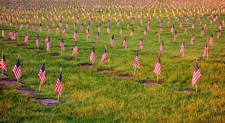 dignidad: Campo de banderas patri�ticas EE.UU. de Am�rica en honor a los soldados tumbas con respeto y dignidad en memoria de Memorial Day en un cementerio de veteranos en la puesta del sol Foto de archivo
