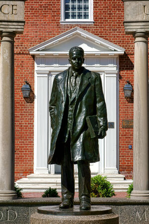 supreme court: United States Supreme Court first African-American justice Thurgood Marshall bronze memorial statue as a young lawyer by artist Antonio Tobias Mendez on Lawyer's Mall at State House Square in the Maryland capital city of Annapolis
