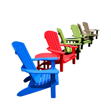 Row of colorful recycled plastic resin color Adirondack chairs and tables made of HDPE recycling lumber for outdoor patio furniture decor isolated on white