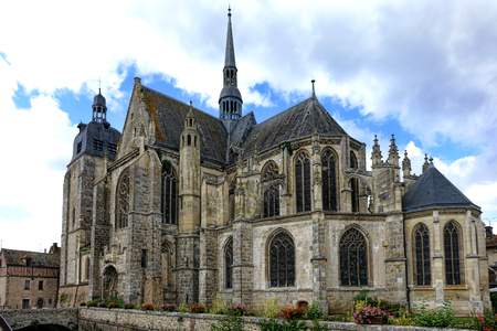 rite: Saint Sulpice gothic medieval architecture church of roman catholic religion rite in the old French town of Nogent le Roi in the Eure Valley region in France