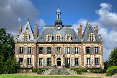 manor: French luxury antique mansion country castle built in the nineteenth century renaissance historic revival style in Nogent le Roi in France