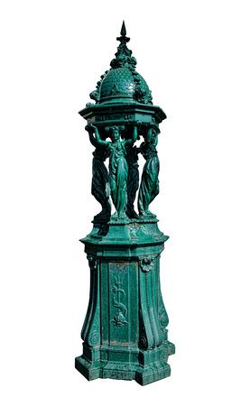 caryatids: Cast iron Parisian sculpture Wallace water public drinking fountain featuring the four caryatids pedestal statues designed by French artist Charles Auguste Lebourg in Paris France Editorial