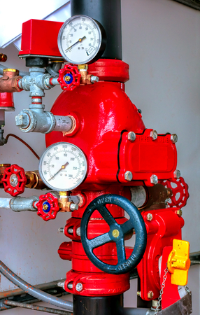 regulating: Automatic fire safety sprinkler control valve assembly for water supply distribution and flow pressure system with regulating manifold and gauges for emergency firefighting and flame suppression