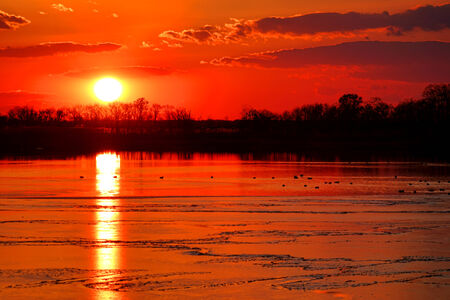 frozen lake: Bright sun setting and clear warm orange dusk sky over a partially winter frozen lake with ducks at sunset