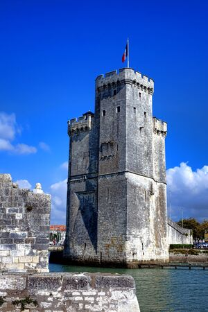 Tour Saint Nicolas middle ages fortress and medieval harbor entrance tower fortification as fortified entrance to the old port of La Rochelle in the historic French city in France