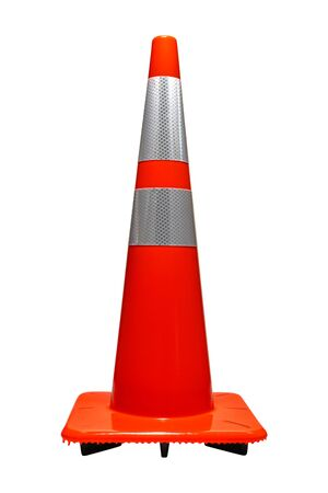 Road and highway furniture device marker safety traffic cone in orange color with reflector isolated on white Imagens