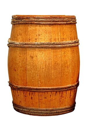 Antique whisky barrel or wine cask wood liquid container with vintage wooden hoops isolated on white background