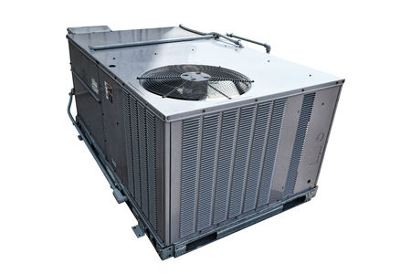 Commercial cooling HVAC air conditioner condenser evaporator fan AC unit for building climate control and refrigeration in a temperature conditioning system