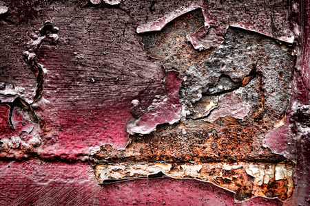 Grunge peeled and damaged paint peeling off old rust steel industrial metal corroded surface background