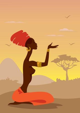 ilustraciones africanas: Mujer Africana Vectores