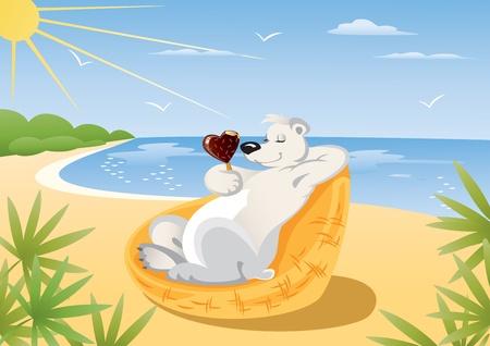 sun cream: Polar Bear on the Beach