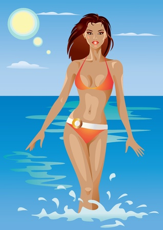 Beautiful Girl in the Sea Vector