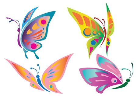 green butterfly: Butterfly Icons Illustration