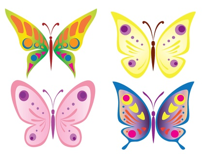 butterfly wings: Butterfly Icons Illustration