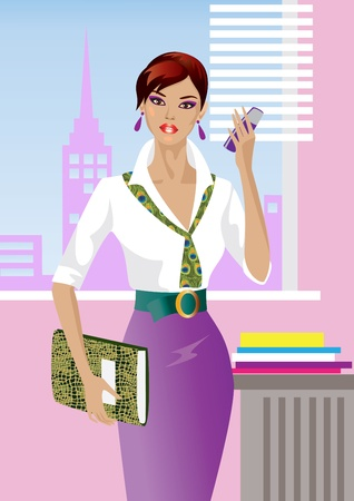 brunettes: Beautiful Girl in the Office Illustration