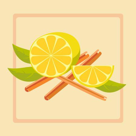 rinds: Vector illustration of lemon and cinnamon Illustration
