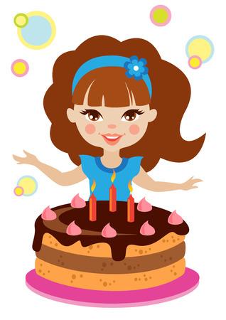 pretty little girl: Little girl and cake