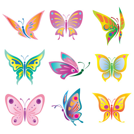 pink butterfly:  Vector set of a beautiful  butterfly