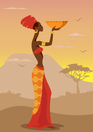 Vector Illustration de la femme africaine Banque d'images - 27249807