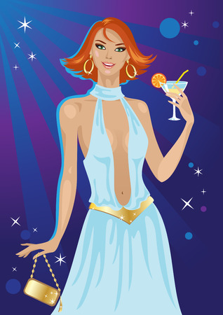 Vector illustration of  a fashion disco girl with cocktail Vector