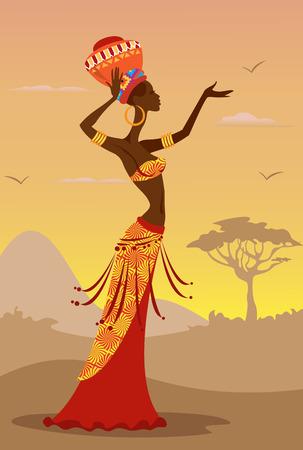 Vector illustratie van de Afrikaanse vrouw Stock Illustratie
