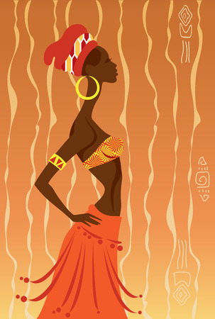 african art: Vector Illustration of African Woman