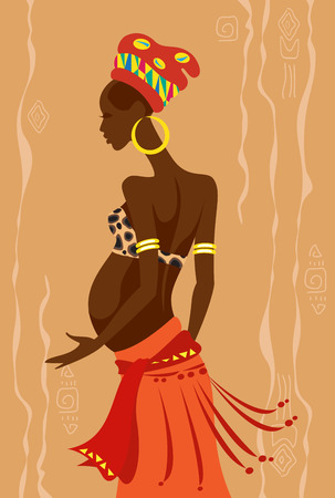 Vector illustration of a young beautiful pregnant african woman