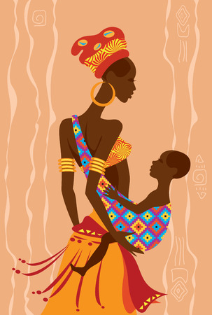 Vector illustration of  a beautiful african mother and  her baby in a sling Vector
