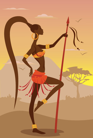 Vector Illustration of African Woman Vector