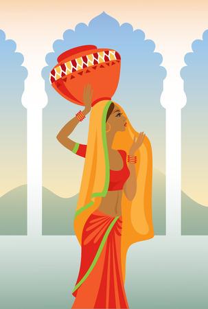 slim women: Ilustraci�n vectorial de la mujer india lleva un c�ntaro en la cabeza