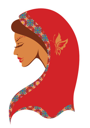 costume jewellery: Vector  illustration of  Indian woman