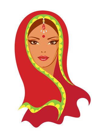 sari: Vector  illustration of  Indian woman