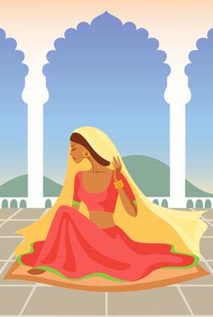 sari: Vector  illustration of  Indian woman  in an Indian palace