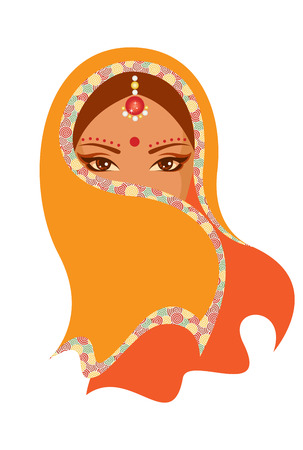 Vector  illustration of Indian woman Çizim