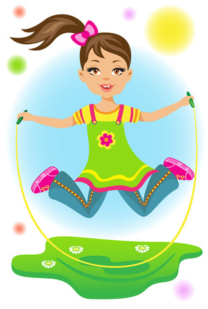 The beauty little girl jumps on a skipping rope Vector