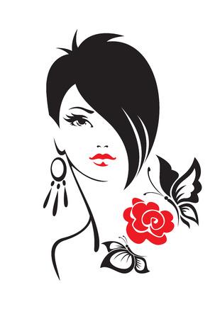 nude black woman: Black and white illustration of elegant woman Illustration