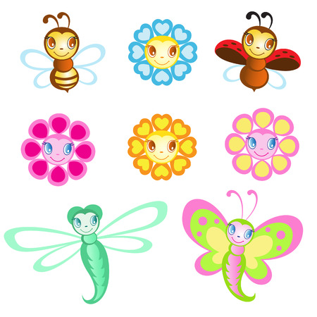 poppet: Vector set of Merry insects Illustration